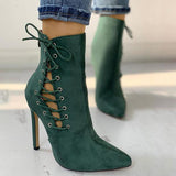 Shoesprit Suede Lace-Up Eyelet Pointed Toe Boots