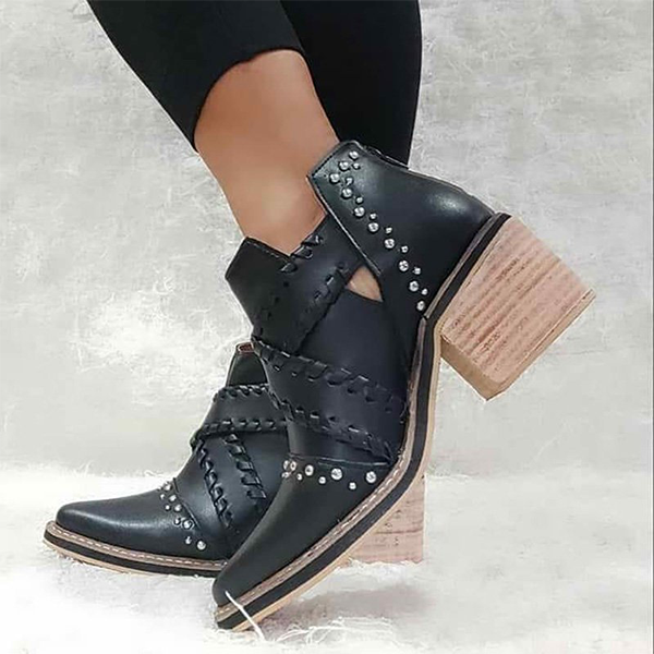 Shoesprit Women Braided Strap Rhinestone Ankle Boots