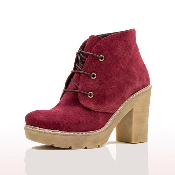 Shoesprit Women Fashion Lace-Up Chunky Heel Booties