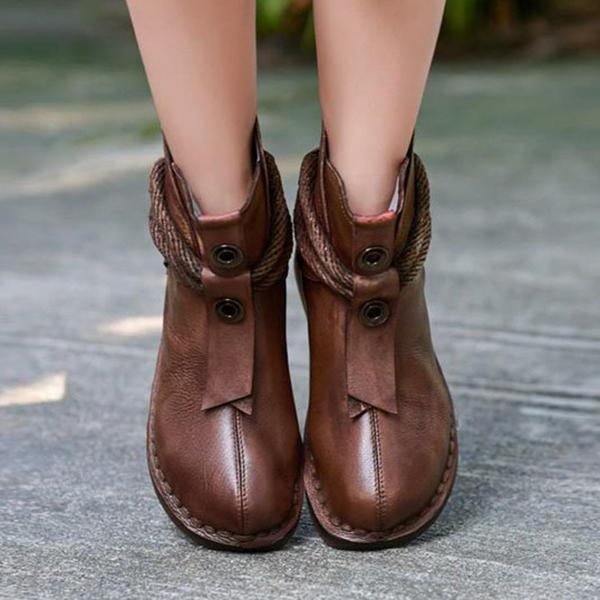 Shoesprit Vintage Leather Zipper Flat Heel Ankle Booties
