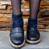 Shoesprit Plain Chunky Mid Heeled Round Toe Casual Outdoor Flat Boots