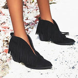 Shoesprit Fringes Pointed Toe Chunky Heels Boots