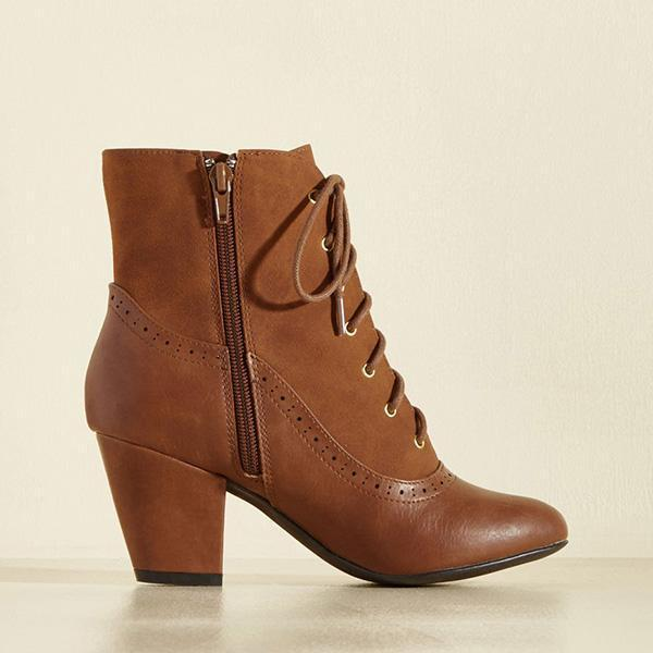 Shoesprit Fashion Zipper Pointed Toe Heels Lace-Up Boots