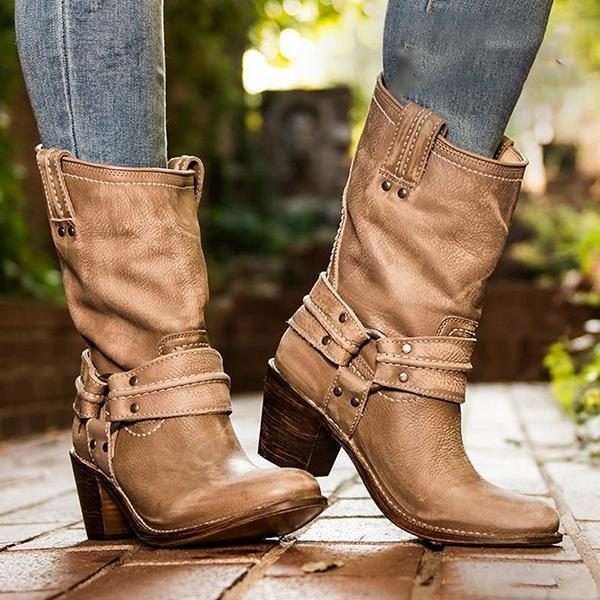 Shoesprit Chunky Heel Mid-Calf Boots Slip-On Artificial Leather Woemens Boots