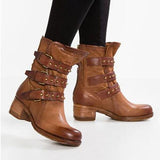 Shoesprit Fashion Belt Buckle Round Head Boots