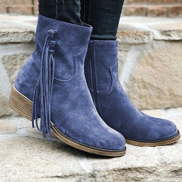 Shoesprit Fringe Ankle Boots Slip-On Womens Boots