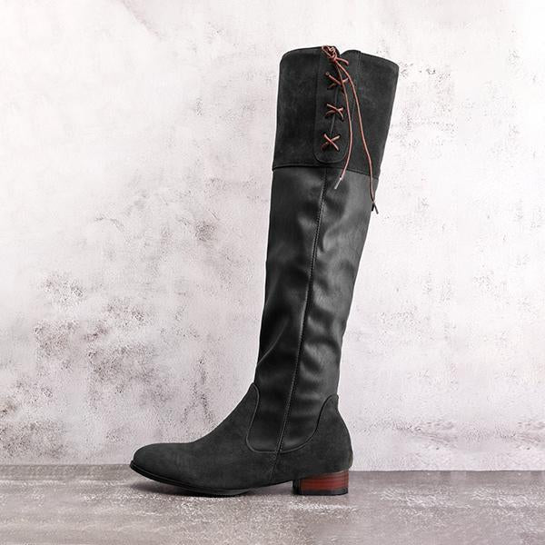 Shoesprit Lace-up Boots Vintage Autumn & Winter Boots with Back Zippers