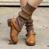 Shoesprit Comfy Cabin Sweater Vintage PU Paneled Casual Boots
