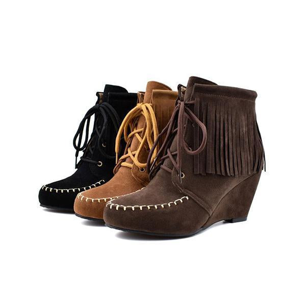Shoesprit Lace-Up Wedge Heel Tassel Fringe Faux Suede Boots