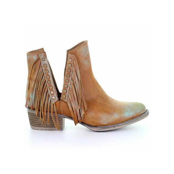 Shoesprit Side Cut Tassel Chunky Heel Ankle Boots
