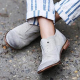 Shoesprit Distressed Boots Casual Flat Shoes