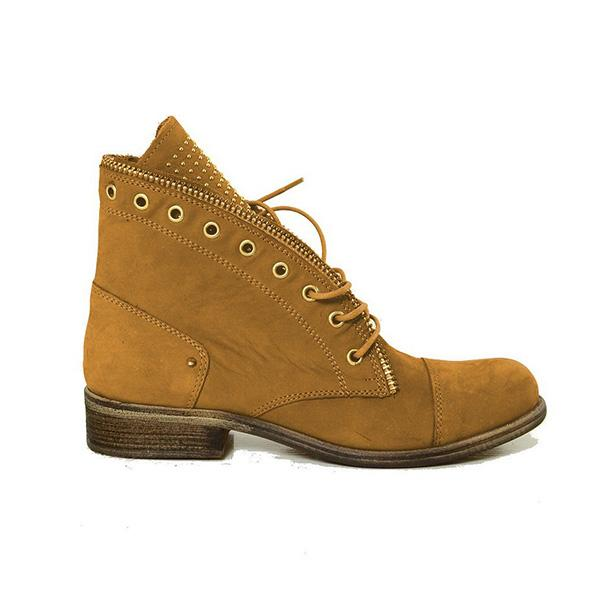 Shoesprit Women Lace Up Low Heel Winter Boots
