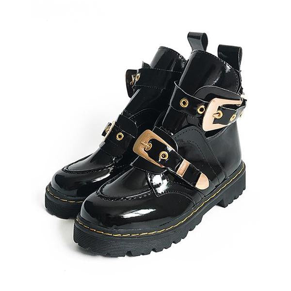 Shoesprit Hollow Leather Buckle Martin Boots