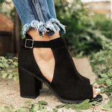 Shoesprit Women Peep Toe Black Booties