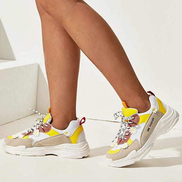Shoesprit Floral Decor Suede Panel Sneakers