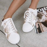 Shoesprit Pentagram Pattern White Shoes Flat Sneakers
