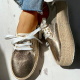 Shoesprit Solid Eyelet Lace-Up Muffin Espadrille Casual Sneakers