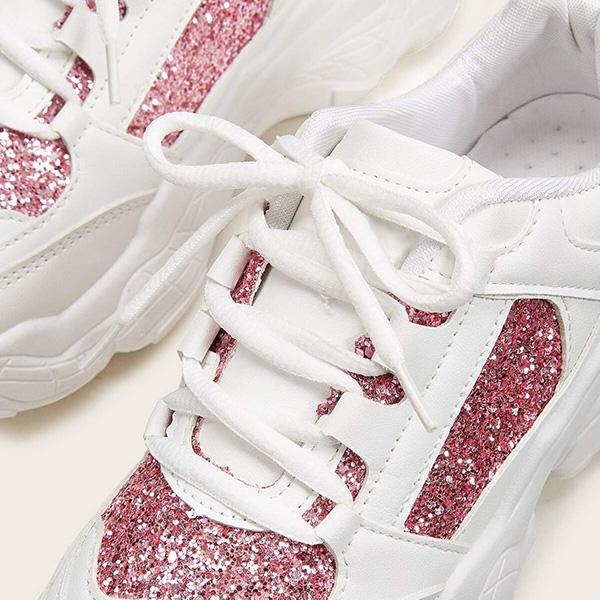 Shoesprit Lace-Up Front Glitter Detail Chunky Sole Sneakers