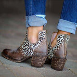 Shoesprit Women Vintage Slip-On Chunky Heel Ankle Boots
