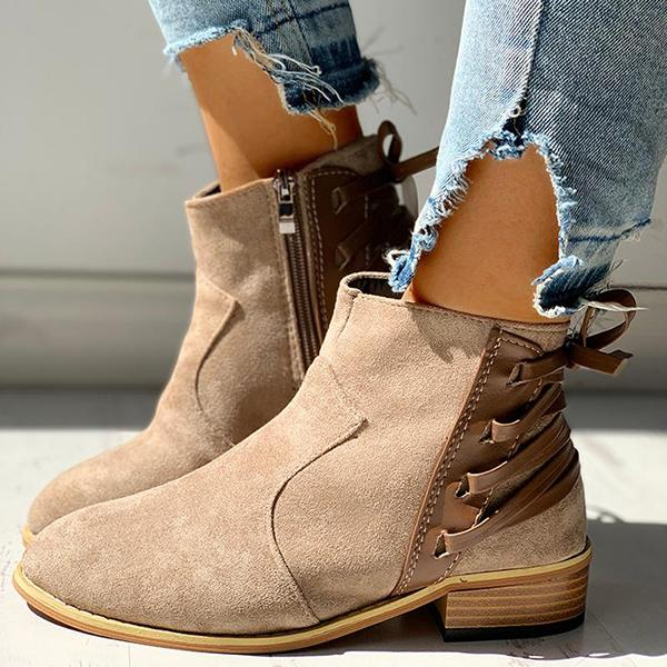 Shoesprit Pointed Toe Lace-up Chunky Heeled Boots