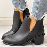 Shoesprit Solid PU Cut Out Design Chunky Heeled Boots