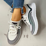 Shoesprit Striped Lace-Up Muffin Casual Sneakers