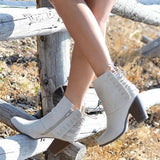 Shoesprit Corset Lace Heeled Zipper Casual Booties