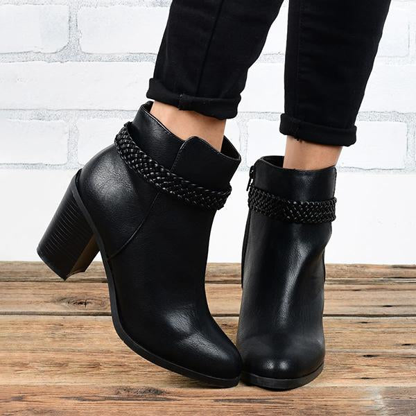 Shoesprit Classic Braid Heeled Daily Casual Faux leather Bootie