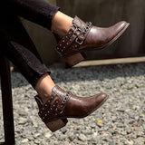 Shoesprit Brown Round Toe Chunky Heel Women Boots