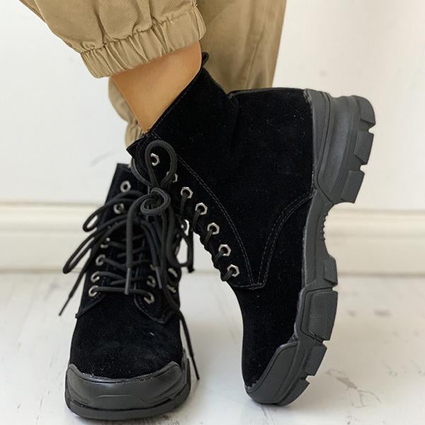 Shoesprit PU Eyelet Lace-Up Zipper Design Boots
