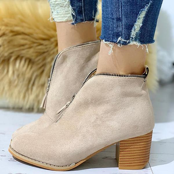Shoesprit Zipper Design Chunky Heeled Ankle Boots
