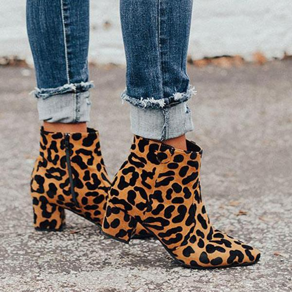 Shoesprit Zipper Pointed Toe Heels Leopard Ankle Boots