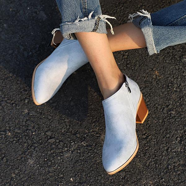 Shoesprit Women Cowhide Leather Martin Booties Plus Size Chunky Heel Shoes