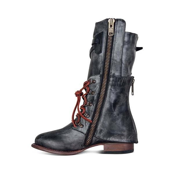 Shoesprit Vintage Women Lace-up Boots Adjustable Buckle Low Heel Boots