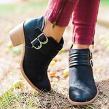 Shoesprit Adjustable Buckle Middle Heels Ankle Boots