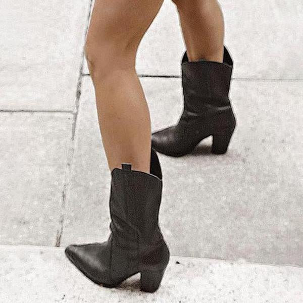 Shoesprit Women Pointed Toe Chunky Heel Boots