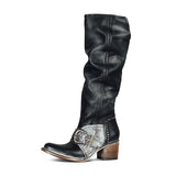 Shoesprit Faux Leather Buckle Zipper High Boots