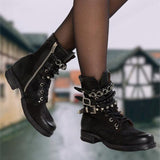 Shoesprit Panel Low Heel Pu Casual Boots