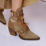 Shoesprit Lace up Buckle Booties