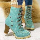 Shoesprit Rivet Lace-Up Eyelet Chunky Heeled Boots