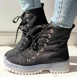 Shoesprit Solid PU Lace-Up Chunky Heel Boots
