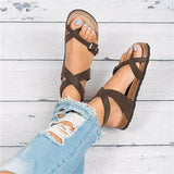 Shoesprit Roman Sandals Buckle Peep-toe Flats (ship in 24 hours)