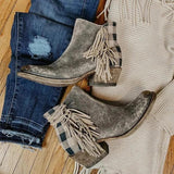 Shoesprit Chunky Heel Faux Leather All Season Tassel Boots
