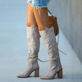 Shoesprit Distressed Faux Suede Slouch Boots