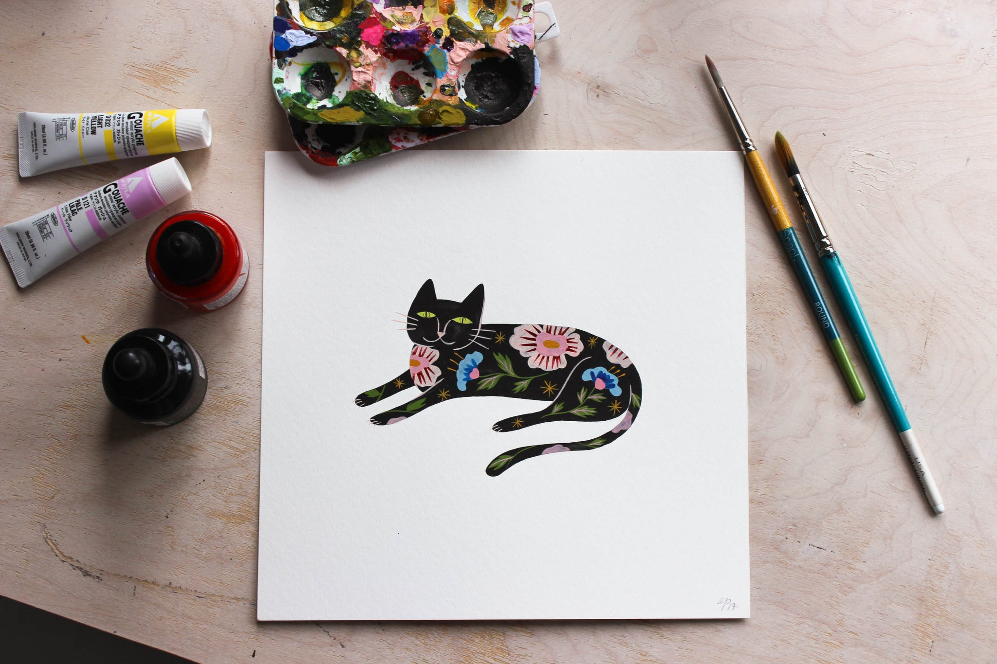 Flower Cat Tattly by Estee Preda