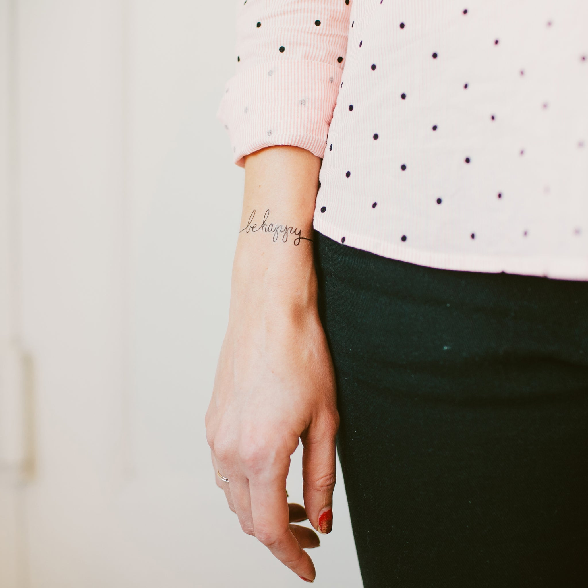 5a9d6a3ff74b3 Be Happy by Lila Symons from Tattly Temporary Tattoos
