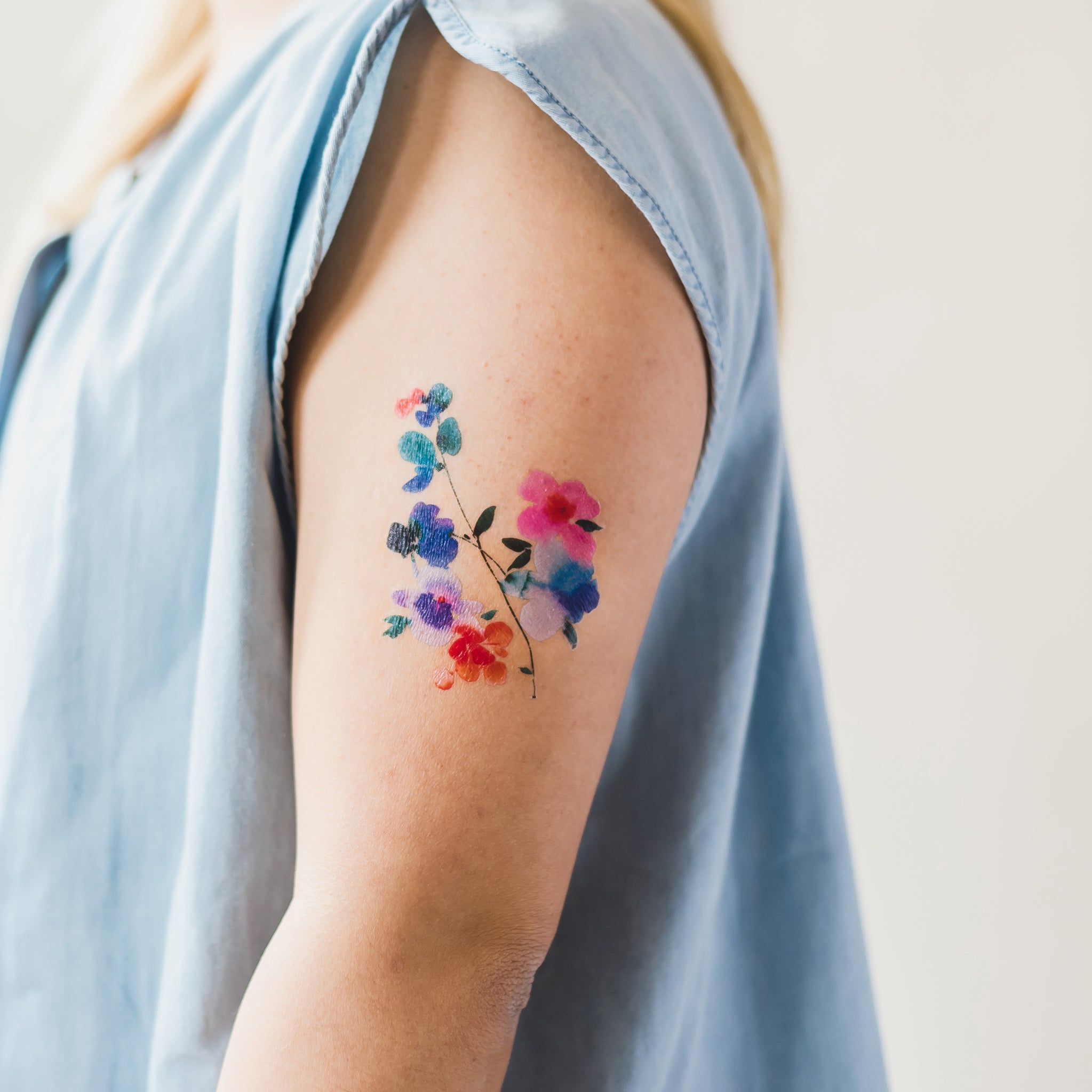 7ca6bb8e940df Blue Orchid by Helen Dealtry from Tattly Temporary Tattoos