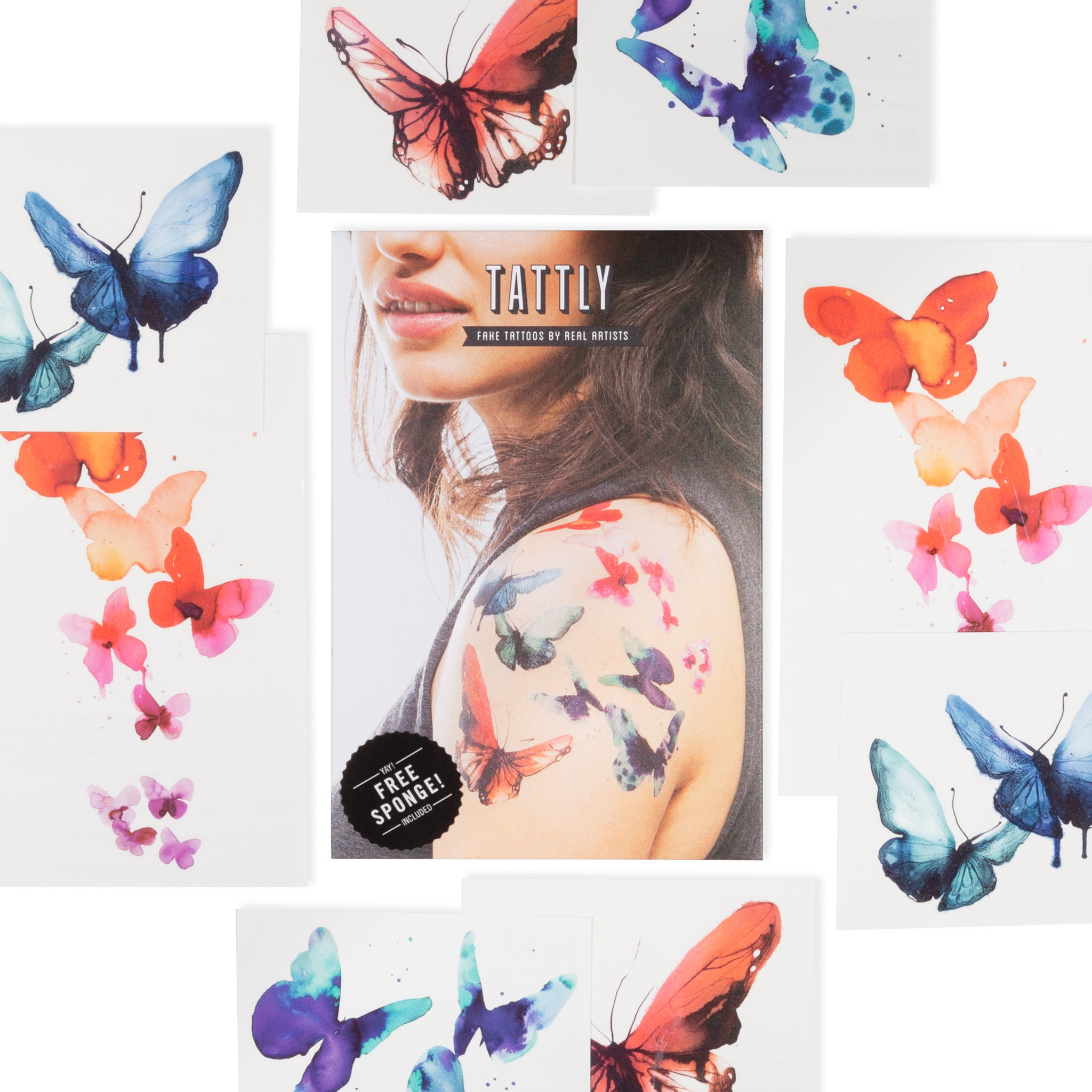 df50479c4 Watercolor Butterflies Set by Stina Persson from Tattly Temporary ...