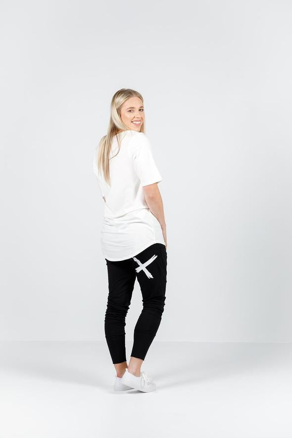 HOME-LEE APARTMENT PANTS BLK WHITE SINGLE X