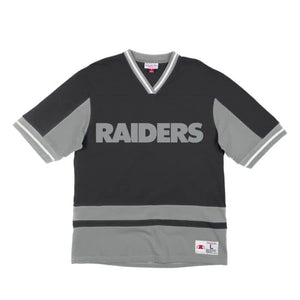 M&N FS V-NECK RAIDERS BLK 19019OR